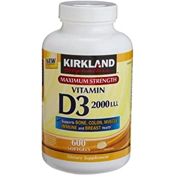 Kirkland Signature Maximum Strength Vitamin D3 2000 I.U. 600 Softgels, Bottle Personal Healthcare / Health Care