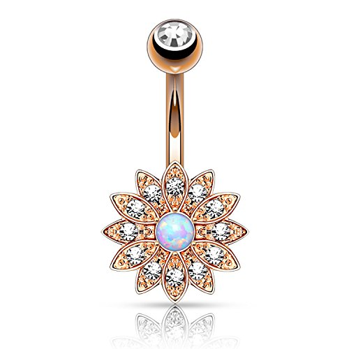 BodyJ4You Belly Button Jeweled Flower