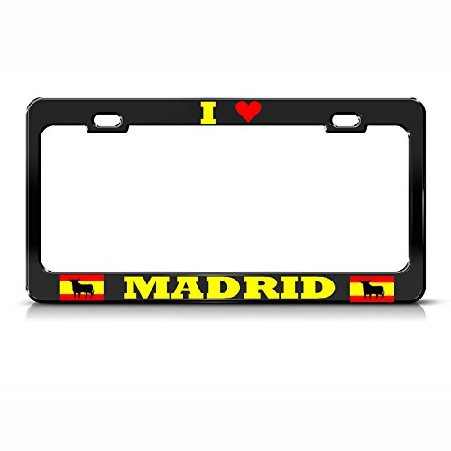 I Love Madrid Spain License Plate Frame Black County Espana Pride Tag Border for Home/Man Cave Decor by PrMch by Man Cave Decorative Signs