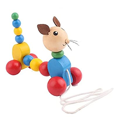 Baby Wooden Toy Lovely Animals Shape Dog Push Pull Toys Early Childhood Educational Wooden Tractors Toy Learning Walking Walker For Toddler