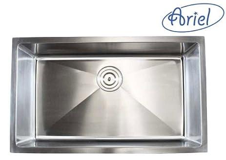 ARIEL   36 Inch Stainless Steel Undermount Single Bowl Kitchen Sink 15mm  Radius Design