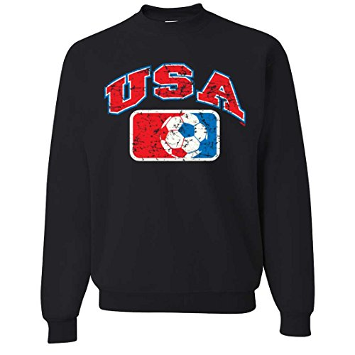 USA Vintage Soccer Team Crewneck Sweatshirt - Black Small