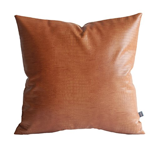 Kdays Faux Leather Crocodile Tan Pillow Cover Throw Pillow Cover Decorative Couch Cushion Cover 18x18 inches