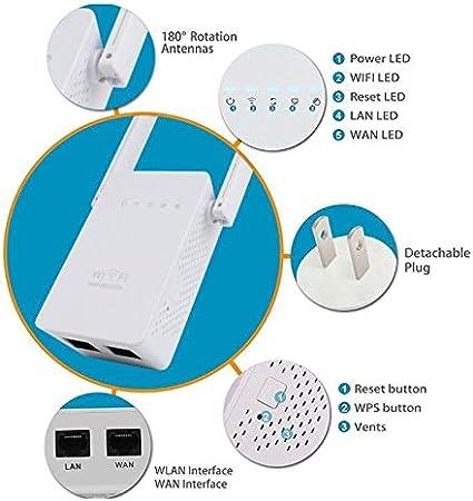 Amplificador de se/ñal WiFi Extensor de Rango WiFi repetidor de 300 Mbps Punto de Acceso inal/ámbrico con repetidor Ap con 802.11n//g//b con funci/ón WPS BYECHOW