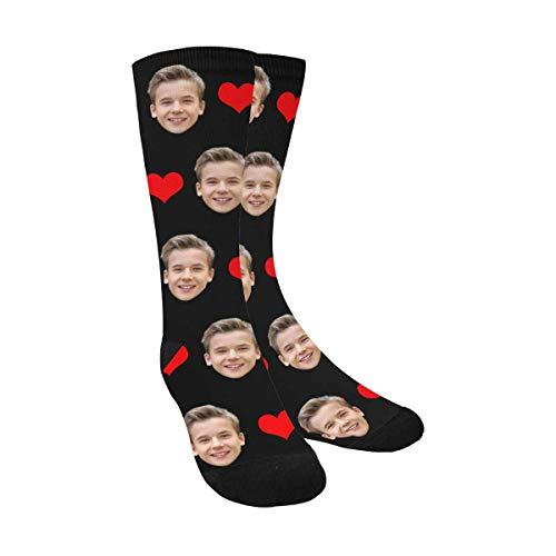 Custom Print Your Photo Pet Face Socks, Personalized Red Love Heart Black Crew Socks for Men Women
