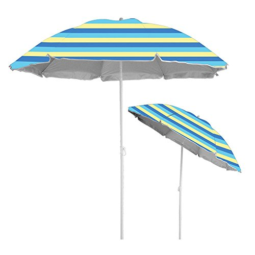 Stripe Beach Umbrella (Caribbean Joe beach umbrella UV protection with color matching carry case, Stripe, 6')