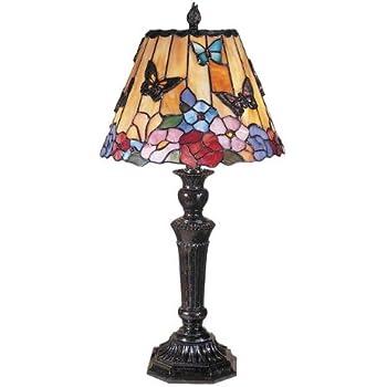 Dale Tiffany TT100587 Butterfly and Peony Tiffany Table Lamp ...