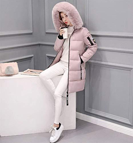 Rosa Marca Donna Cappotti In Lunga Autunno Outerwear Giacca Monocromo Sintetica Moda Imbottito Trapuntata Piumino Di Collo Mode Eleganti Leggermente Pelliccia Invernali Manica Cappotto 4AvqBw4
