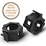 Quick-Release Safety Collars for Olympic Barbells, 2' Plates by D1F, Set of 2 - Weight Locking Clips for Weightlifting Bars - Heavy-Duty 2-inch Plate Clamps for Powerlifting, Strength Training