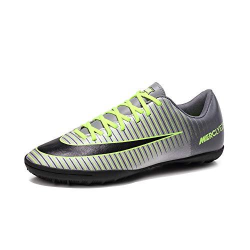 PISDO Truf Soccer Cleats Men's Training Sneaker Indoor Soccer Shoes for Kids Silver 4-4.5 M US