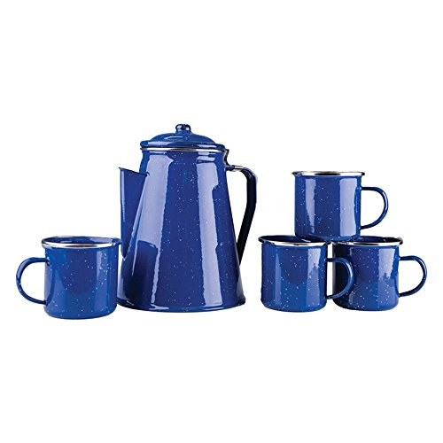 Stansport-Enamel-8-Cup-Percolator-Coffee-Pot-with-4-Mug-Set