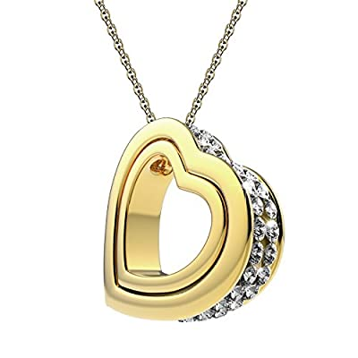 UHIBROS Dual Heart Necklace Jewelry Women's Double Love Heart Shape Pendant Charm Necklace Crystal Created Swarovski Elements