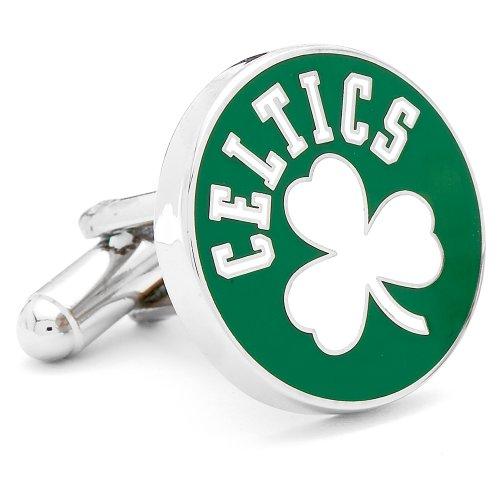 Mens Nickle Plated NBA Vintage Boston Celtics (Boston Celtics Cufflinks)