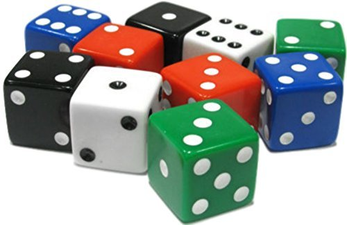 Custom & Unique {Assorted Large 19mm} 10 Ct Pack Set of 6 Sided [D6] Square Cube Shape Opaque Playing & Game Dice w/ Rounded Corner Edges w/ Classic Gamers [Green, - Gamers Edge The