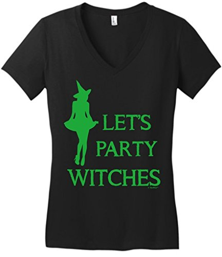 [Big and Tall Halloween Costume Halloween Let's Party Witches Juniors VNeck 3XL Black] (Fat Lady Halloween Costumes)