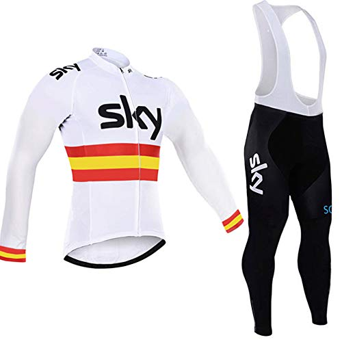 - HnjPama Pro Team Spring Summer Men's Long Sleeve Cycling Jersey Set Bib Pants Quick Dry Cycling Jersey White XL