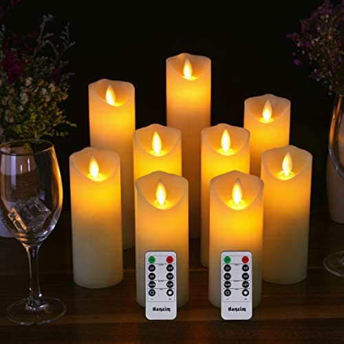 Flameless Candles Set of 9 Ivory Dripless Real Wax Pillars Include Realistic Dancing LED Flames and 10-Key Remote Control with 24-Hour Timer Function 400 Hours by 2 AA Batteries Ivory