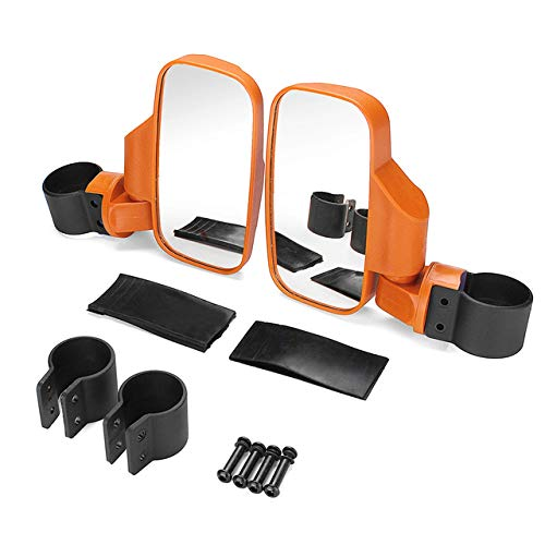 Motobiker 1Pair UTV Side View Mirror for 1.5' - 2' Roll Cage Tempered Glass Breakaway Mirrors for Polaris Ranger RZR, Can Am Commander, Maverick X3, Gator, Teryx, Rhino YXZ and more (Orange)