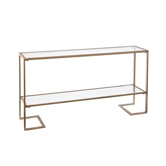 Metal Skinny Console Table - Slim Profile w/Mirror Top (52x29) -  - living-room-furniture, living-room, console-tables - 41yNwTSsjFL. SS570  -