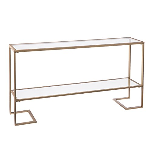Furniture HotSpot - Glam Narrow Console - Gold w/ Mirror - 52'' W x 12'' D x 29'' H by Furniture Hotspot
