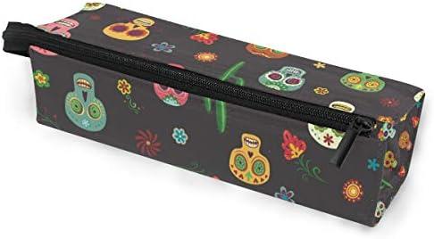 Bolsa de lápiz Estuche Gafas de sol de colores Cráneo Flores de cactus Cosméticos Estudiantes Papelería Funda con cremallera para niñas niños: Amazon.es: Oficina y papelería