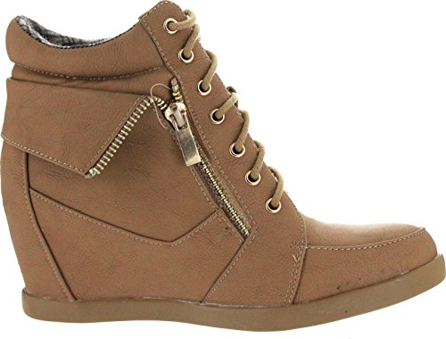 Forever Leatherette Lace Wedge up High Fashion Camel Women 34 Sneaker Gladys Booties Top rFfIwr