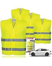 4x veiligheidsvesten EN471 - lekvest 2021 Ongevallenvest, personenauto, veiligheidsvest, neon geel reflecterend vest voor auto's, auto's, vrachtwagens