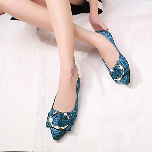 Peu Sandales En Pointu Ete Plates Bout Kaki Casual Simple Bleu Simples Eu Modaworld Élégant Femme 40 Gris Chaussures 35 Mode Noir Profonde Métal FqvcyCA