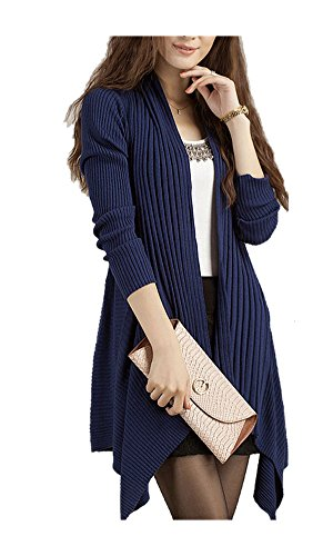 ARJOSA Women Fashion Stretchy Long Sleeve Open Cardigan Trench Sweater Top (#4 Royal Blue)