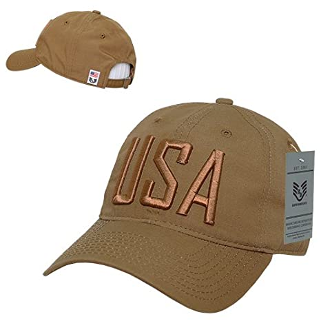 0afb5a31c386c Amazon.com : Rapiddominance Relaxed Ripstop Cap, USA Text, Coyote : Sports  & Outdoors