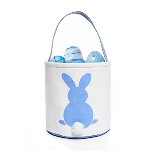 GWELL 4 PCS, Easter Bunny Basket, Foldable Gift Basket Bucket for Kids, DIY Gifts, Egg Hunt, Candies, Goodies, Canvas Bag with Bunny Tail Pompom by GWELL (Image #3)