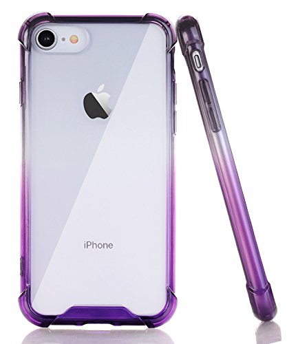 - BAISRKE Clear Case for iPhone 7, Slim Shock Absorption Protective Cases Soft TPU Bumper & Hard Plastic Back Cover for iPhone 7 & iPhone 8 [4.7 inch] - Black Purple Gradient