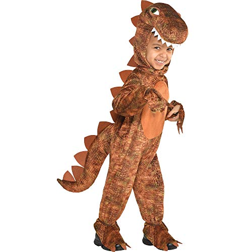 T-Rex Jumpsuit Halloween Costume for Boys, 3-4T, with Attached Hood, by Amscan