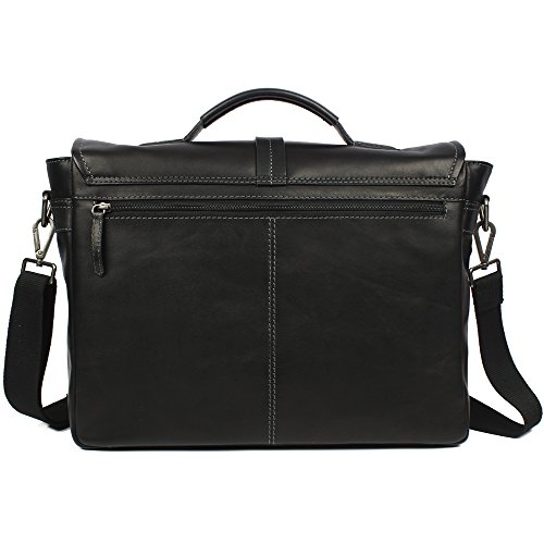 Men's Leather Business Laptop Bag With Flap With Long Handle by Zoa Black by Zoa (Image #2)