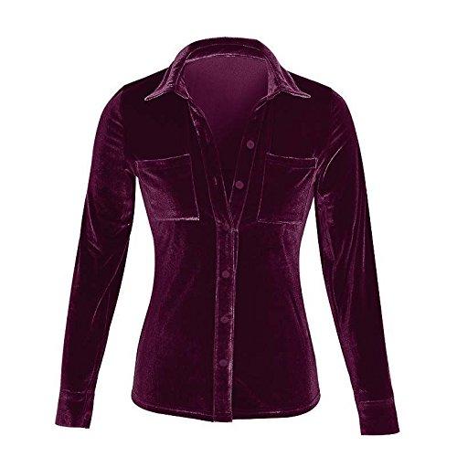 Bavero Tops Donne Stlie Camicia Solido Moda Manica Primavera Grazioso Casual Elegante Shirt Bluse Scamosciato Purple Donna Larghi Lunga Autunno Camicie wqRYB