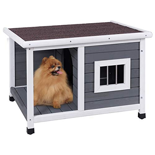 PETSJOY Pet Cat Dog House, Wooden Dog Cat Room Shelter, Weatherproof Puppy House Kitty Condo Room with Platform for Indoor and Outdoor Use, Feral Insulated Pet House Log Cabin