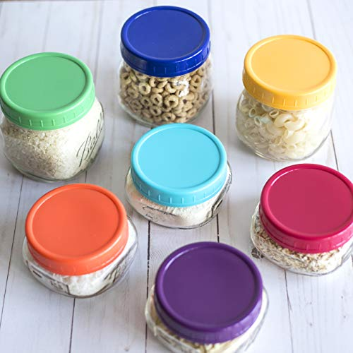 The Goods Mall [14 Pack] Color Plastic Mason Jar Lids - Fits BALL or KERR - 7 Wide Mouth & 7 Regular Mouth by The Goods Mall (Image #5)