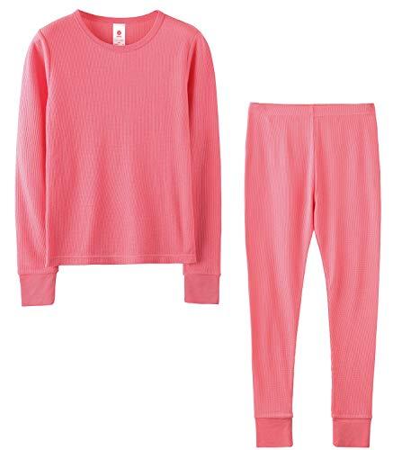 LAPASA Girls Thermal Underwear Long John Set Winter Base Layer Top and Bottom G03 (XS(Height 105-115cm), Pink (Waffle Knit))