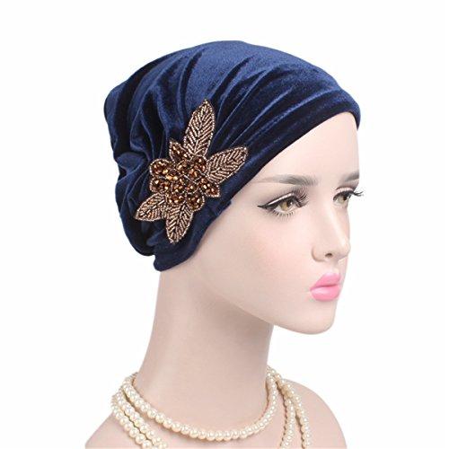 Qhome Fashion Women's Elegant Soft Velvet Turban Beanie with Beaded Flower Hat Chemo Cap Liner For Cancer Hair Loss Ladies