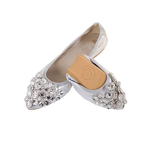 Lauthen.S Women Foldable Ballet Flats, Pointed Toe Wedding Rhinestone Slip on Flat Shoes(Silver,7 US M)