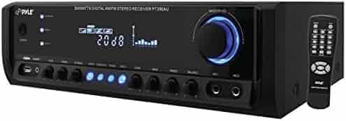 Pyle PT390AU Digital Home Theater Stereo Receiver, Aux (3.5mm) Input, MP3/USB/AM/FM Radio, (2) Mic Inputs, 300 Watt