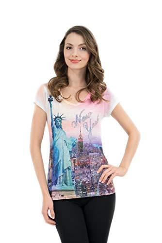 T-shirt Ladies Rhinestone - Sweet Gisele New York NYC T-Shirt   Colorful and Vivid Printing   Decorated with Rhinestones   (TBO-79, XS)