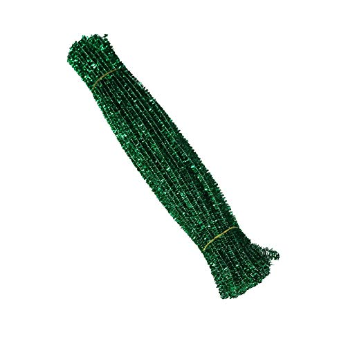 (AKOAK 100 Count 6mm x 300mm Shiny Chenille Stems Metallic Pipe Cleaners Tinsel Stems Wired Sticks for DIY Arts and Crafts (Green))