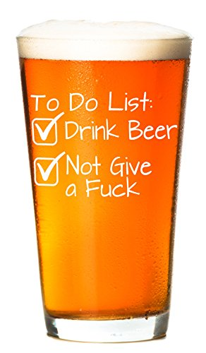 To Do List Funny Beer Glass 16 Oz Unique Novelty Lovers Christmas Gifts For Men Fathers Day Birthday Dad Grandpa Husband Boyfriend Boss Best
