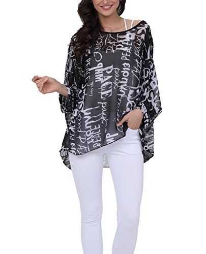 Wiwish Women's Florals Batwing Sleeve Button Back Chiffon Beach Loose Blouse Tunic Tops,One Size,281hzm