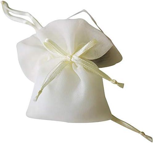 ギフトバッグ、ミルクと白の二重オーガンザ巾着ポーチ、宴会/結婚式/クリスマスギフトバッグの-50枚、* 9センチメートル7センチメートル ギフトバッグ