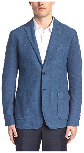 J.Lindeberg Men's Hopper Pp Unconstructed Washed Hopsack Sportcoat, Denim Blue 6976, 50