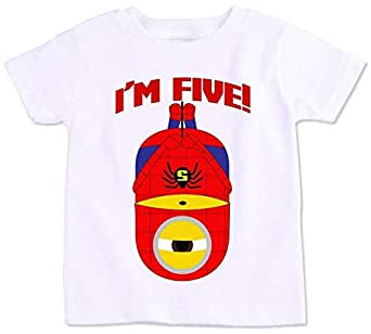 Spiderman Minion With I'M Five Birthday T-Shirt