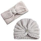 2Pcs Baby Boy Girl Beanie Cap Bowknot Headband, Iuhan Newborn Infant Toddler Knitted Turban Hat Hair Band Beanie Headwear Cap Sets for 0-2year Baby