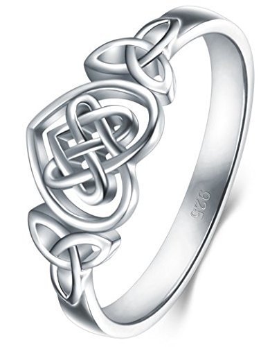 BORUO 925 Sterling Silver Ring Celtic Knot Heart High Polish Tarnish Resistant Eternity Wedding Band Stackable Ring Size ()